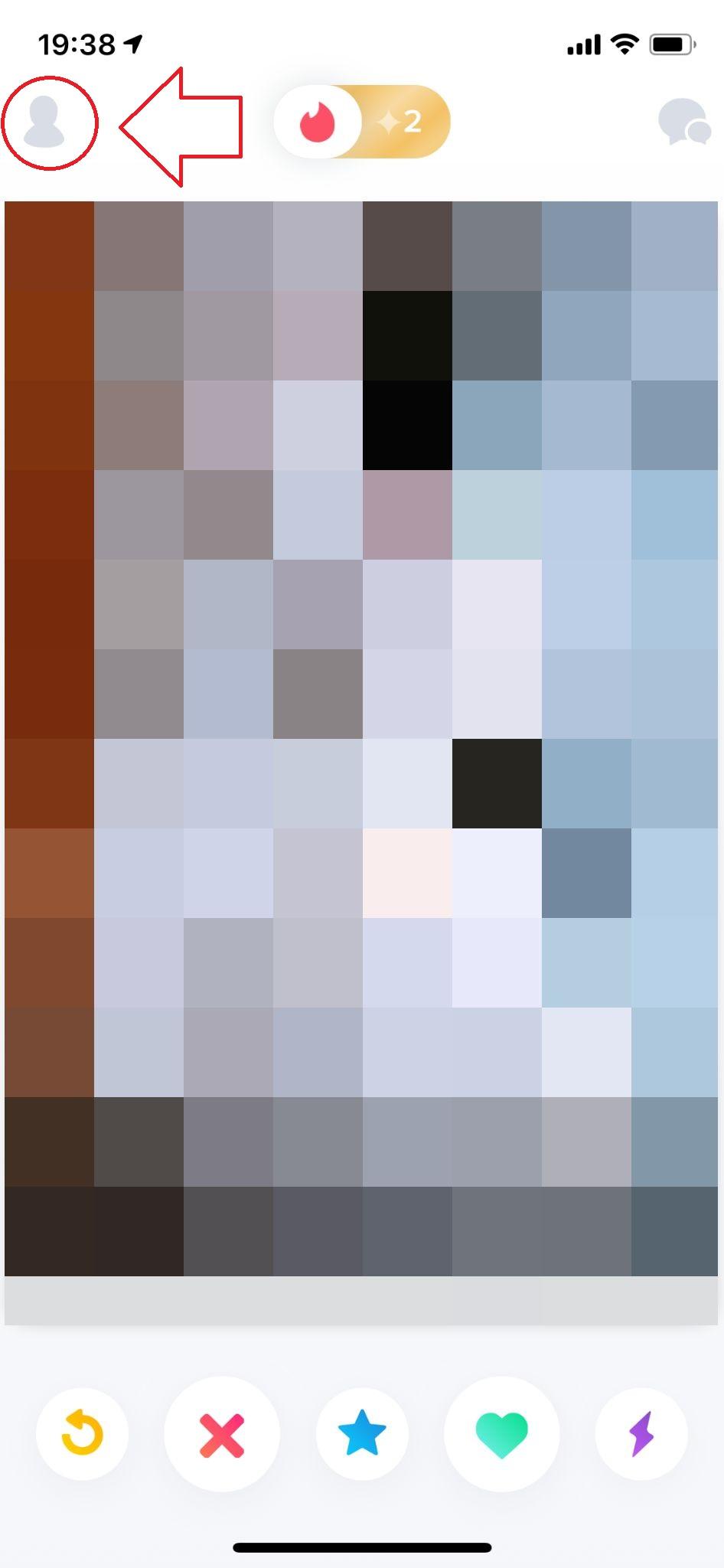 写真とプロフィールを設定するには、左上のアイコンをタップしましょう。