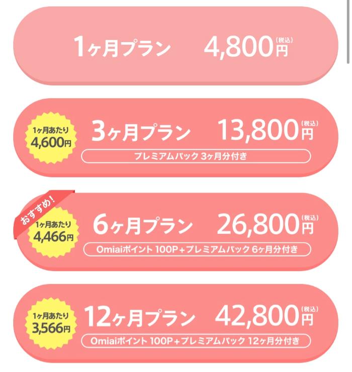 aomiai 男性 料金プラン