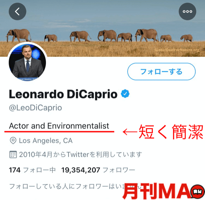 DiccaprioのTwitterのプロフィール文章